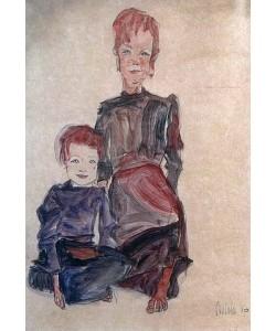 Egon Schiele, Zwei Proletarierkinder. 1910.
