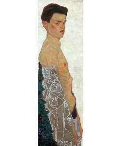 Egon Schiele, Aktselbstbildnis mit ornamentierter Drapierung. 1909.