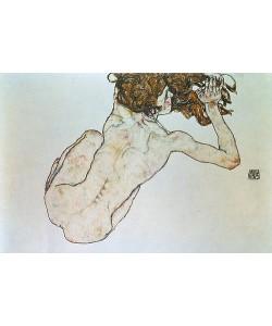 Egon Schiele, Kauernder Rücken-Akt. 1917