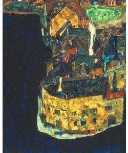 Egon Schiele, Stadt am blauen Fluss II., 1911.