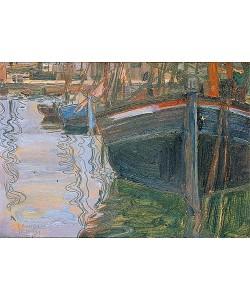 Egon Schiele, Boote, sich im Wasser spiegelnd. 1908