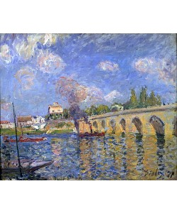 Alfred Sisley, Flussdampfer und Brücke. 1871
