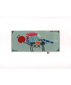 Haas Bruno Flugmaschine (Holzdruck, handsigniert)