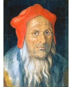 Albrecht Dürer, Bildnis eines bärtigen Mannes mit roter Haube. 1520.