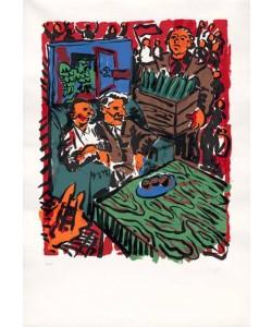 Immendorff Jörg 3. Oktober 90 (30) (Siebdruck, handsigniert, nummeriert)