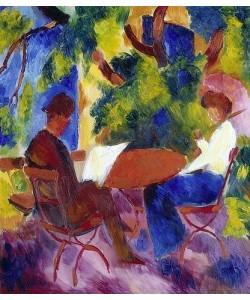 August Macke, Paar am Gartentisch.