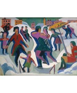 Ernst Ludwig Kirchner, Eisbahn mit Schlittschuhläufern. 1925