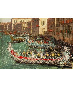 Canaletto (Giovanni Antonio Canal), Regatta auf dem Canale Grande vor dem Palazzo Foscari (Detail).