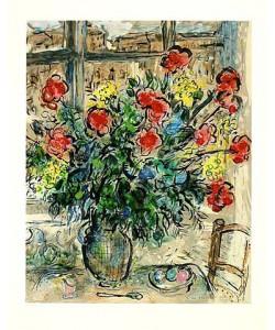 Chagall Marc Strauss vor Fenster, steinsigniert (Lithographie, nummeriert)
