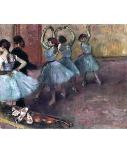 Edgar Degas, Blaue Tänzerinnen auf der Probenbühne. Um 1882