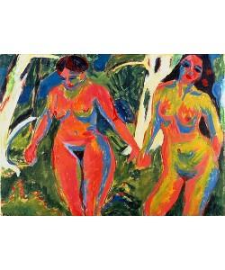 Ernst Ludwig Kirchner, Zwei nackte Frauen im Wald. 1909