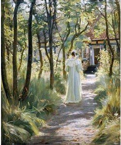 Peter Severin Kroyer, Marie, die Frau des Künstlers, auf einem Gartenweg. 1895
