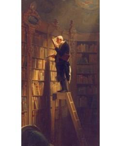 Bild mit Rahmen, Carl Spitzweg, Der Bücherwurm, Holz gold, schwarz gebürstet, 20 mm, Folie