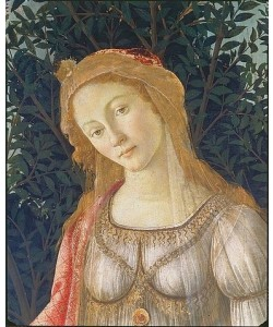"Sandro Botticelli, """"Detail aus dem Gemälde """"""""Der Frühling"""""""": Kopf der Venus."""""""""