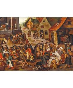 Pieter Brueghel d.J., Die sieben Werke der Barmherzigkeit.