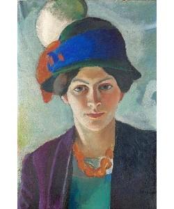 August Macke, Frau des Künstlers mit Hut. 1909