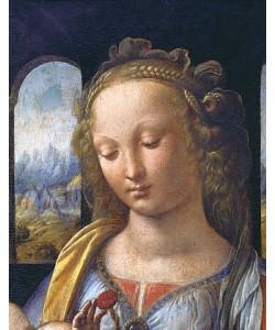 Leonardo da Vinci, Maria mit dem Kinde - Detail: Kopf der Maria