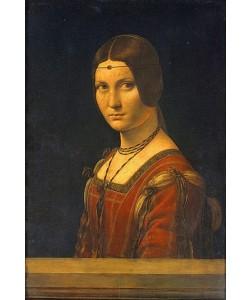 Leonardo da Vinci, Bildnis einer Dame des Mailänder Hofes (La belle Ferroniere). 1495-99.