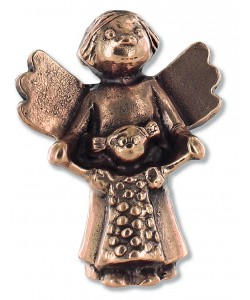 Kerstin Stark, Schutzengel mit Kind, aus Bronze, 6 x 4,5 x 2,5cm
