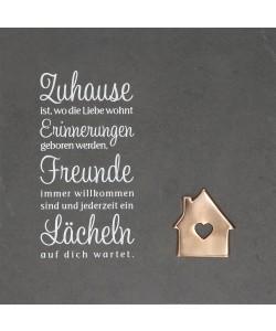 Schieferrelief Zuhause, 29 x 29cm