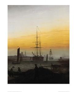 Caspar David Friedrich, Der Greifswalder Hafen (lackiert) (Offset)