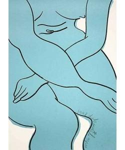 Dokoupil Jiri Georg Blue Nude (30) (Originallithographie, signiert und nummeriert)