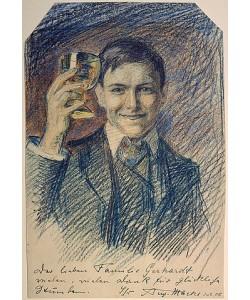 August Macke, Selbstbildnis mit Weinglas. 1905.