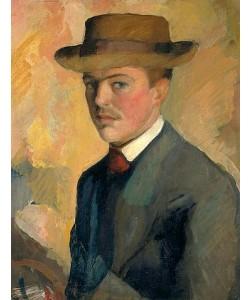 August Macke, Selbstbildnis mit Hut. 1909 (Rückseitig männl. Portraitstudie).