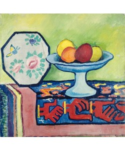 August Macke, Stillleben mit Apfelschale und japanischem Fächer. 1911