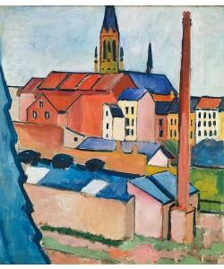 August Macke, Marienkirche in Bonn mit Häusern und Schornstein (Blick aus dem Atelier).