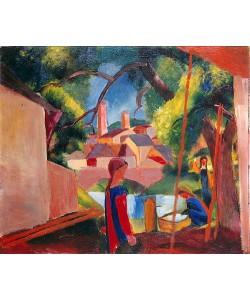 August Macke, Kinder am Brunnen. 1914.