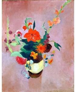 August Macke, Strauss mit Gladiolen auf rosa Grund. 1914.