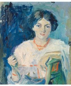 August Macke, Elisabeth Gerhardt auf grünem Stuhl. 1908