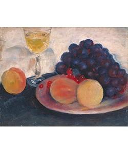 August Macke, Stilleben mit Pfirsichen, Trauben und Weinglas. 1908.