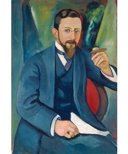 August Macke, Portrait des Schriftstellers E. A. Greeven 1911.