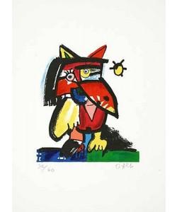 Alt Otmar Katzenvogel mit Sonne (Carborundum-Radierung, handsigniert)