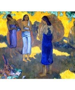 Paul Gauguin, Drei Tahitierinnen vor gelbem Hintergrund. 1899