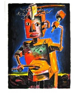 Dokoupil Jiri Georg Portrait of a young Musician   (30) (Original-Lithografie, signiert und nummeriert)