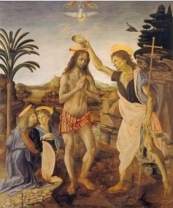 Leonardo da Vinci, Die Taufe Christi. 1469/1480.