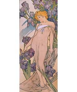 """Alfons Maria Mucha, Iris. (Aus der Serie von Dekorationstafeln """"""""Blumen). 1898."""""""""""