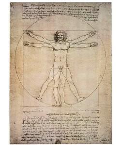Leonardo da Vinci, Porportionszeichnung, nach Vitruv. 1490