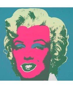 Warhols Sunday B.Morning Edition  Marilyn Kopf Pink-Hellgrün-Dunkelgrün auf Türkis (Siebdruck, Pink-Hellgrün-Dunkelgrün auf Türkis)