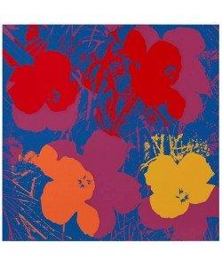 Warhols Sunday B.Morning Edition  Blumen 66 Gelb/Orange/Rot (Siebdruck, Gelb/Orange/Rot mit Pink auf Blau)