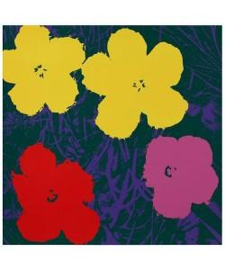 Warhols Sunday B.Morning Edition  Blumen 65 Gelb/Pink/Rot (Siebdruck, Gelb/Pink/Rot auf Grün)