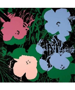 Warhols Sunday B.Morning Edition  Blumen 64 Blau/Rosa/Pink (Siebdruck, Blau/Rosa/Pink auf Schwarz)