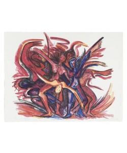 Heinisch Barbara Karussell des Lebens I rot (Lithographie, handsigniert, Andruck)