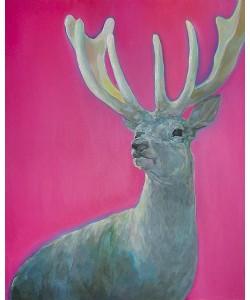 Young Ju Yim Neugieriger Hirsch vor Pink (Digitaldruck, handsigniert und nummeriert)