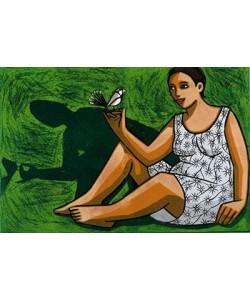 Klein Anita Frau mit Vogel (30) (Lithographie, handsigniert, nummeriert)