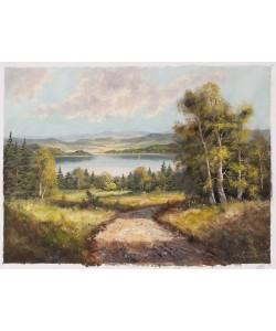 Frühmesser Josef Blick auf den See (Öl auf Leinwand)