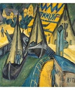 Ernst Ludwig Kirchner, Der Hafen Burgenstaaken auf Fehmarn. 1913.